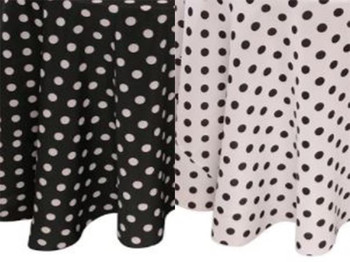"""30""""H Dots Print Polyester Table Skirting (By the Foot) Includes Velcro Clips"""