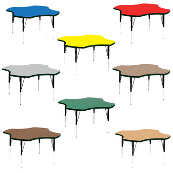 "Correll 48"" (4 ft) Clover High Pressure Laminate Activity Table with Adjustable Height"