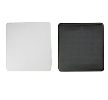 White and Black Replacement seat pads for resin folding chairs.