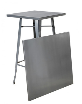 2-Table Premier Engrom Series Square Metal High Top Cocktail Table Set