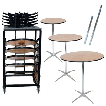 "10 Classic Series Round Plywood Cocktail Table Bundle-10 Tables, 30"" & 42"" Height Poles, and Transport Cart (BUNDLE26)"