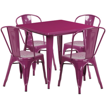 "Indoor/Outdoor Cafe Metal 5 Piece set- 31.5"" Square Table set with 4 Stack Chairs-Purple"
