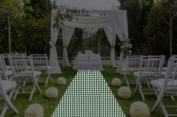 "30""W Checkered Print Spun Polyester Aisle Runner"