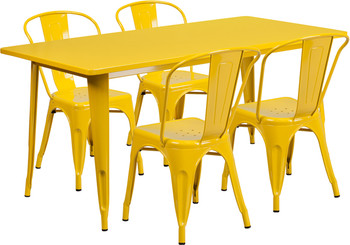 "Indoor/Outdoor Cafe Metal 5 Piece set- 31.5"" x 63"" Rectangle Table set with 4 Stack Chairs-Yellow"