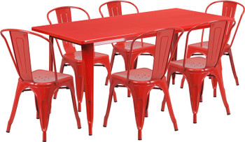 "Indoor/Outdoor Cafe Metal 7 Piece set- 31.5"" x 63"" Rectangle Table with 6 Stack Chairs-Red"