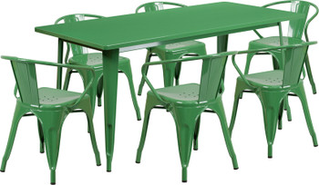 "Indoor/Outdoor Cafe Metal 7 Piece set- 31.5"" x 63"" Rectangle Table with 6 Arm Chairs-Green"
