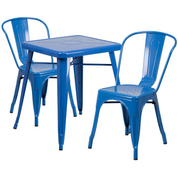 "Indoor/Outdoor Cafe Metal 3 Piece set- 23.75"" Square Table with 2 Stack Chairs-Blue"