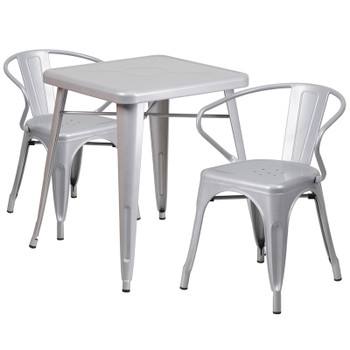 "Indoor/Outdoor Cafe Metal 3 Piece set-23.75"" Square Table with 2 Arm Chairs-Silver"