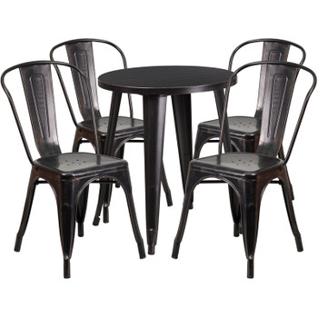 "Indoor/Outdoor Cafe Metal 5 Piece set- 24"" Round Table with 4 Stack Chairs-Antique Gold"