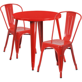 "Indoor/Outdoor Cafe Metal 3 Piece set- 30"" Round Table with 2 Stack Chairs-Red"