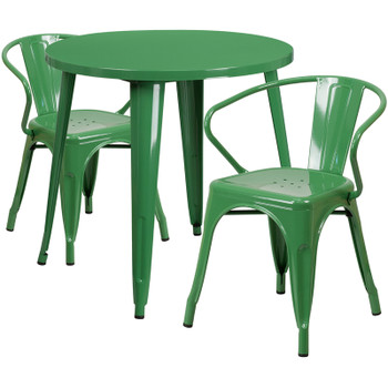 "Indoor/Outdoor Cafe Metal 3 Piece set-30"" Round Table with 2 Arm Chairs-Green"