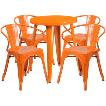 "Indoor/Outdoor Cafe Metal 5 Piece set- 24"" Round Table with 4 Arm Chairs-Orange"