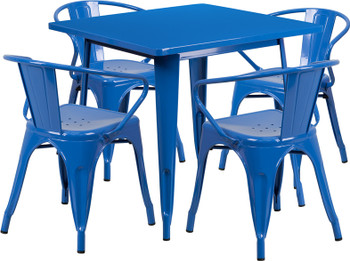 "Indoor/Outdoor Cafe Metal 5 Piece set- 31.5""Square Table with 4 Arm Chairs -Blue"