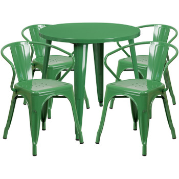 "Indoor/Outdoor Cafe Metal 5 Piece set-30"" Round Table with 4 Arm Chairs -Green"