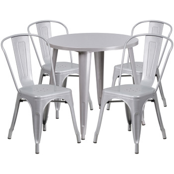 "Indoor/Outdoor Cafe Metal 5 Piece set- 30"" Round Table with 4 Stack Chairs-Silver"