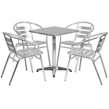 "Aluminum Indoor/Outdoor Table Set with Slat Chairs-23.5""Square with 4 Chairs"