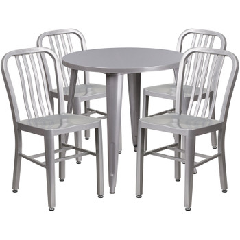 "Metal Indoor/Outdoor Cafe Table Set with Vertical Slat Chairs-30"" Round with 4 Chairs-Silver"