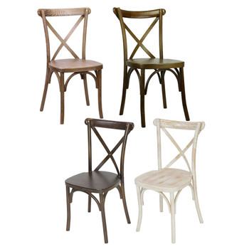 Madison Wood Cross Back Stack Chair