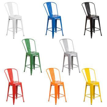 Indoor/Outdoor Metal Tolix High-Back Barstools