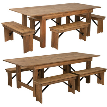 "40"" Wide Hercules Antique Rustic Solid Pine Folding Farm Table with 4 Short Benches"