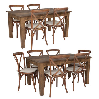 "60"" x 38""x Antique Rustic Farm Table Set with 4 or 6 Cross Back Chairs and Cushions"