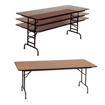 Correll Solid Wood Core High Pressure Adjustable Height Laminate Folding Table