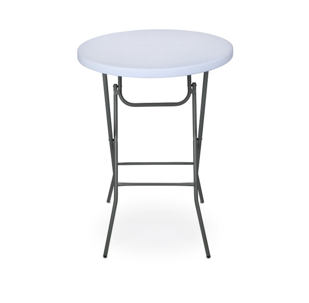 "RhinoLite 32"" Round Plastic Folding High Top Cocktail Table, 43.5"" Bar Height, Folding Steel Frame"