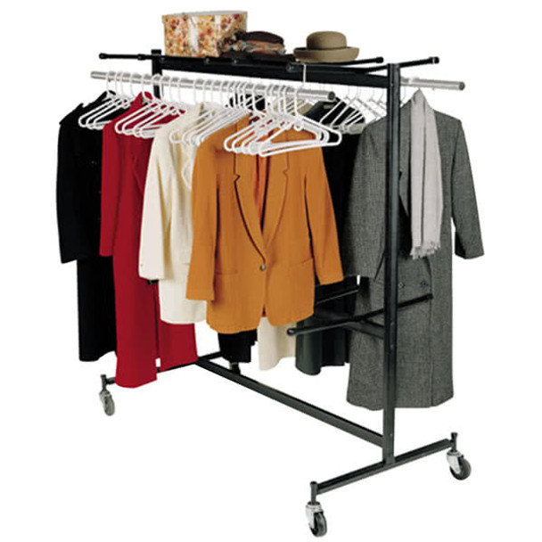 Hanging Storage and Transport Folding Chair Cart with Checkerette Bars and Coat Rack Conversion