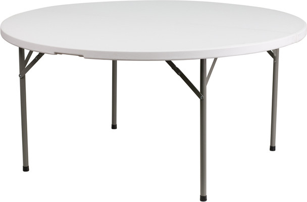 "RhinoLite 60"" (5 ft) Round Plastic Folding Table, Locking Steel Frame"