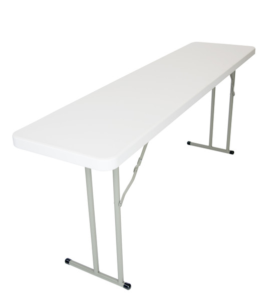 "RhinoLite 18""x72"" (6 ft) Seminar Plastic Folding Table, Solid One Piece Top, Locking Steel Frame"