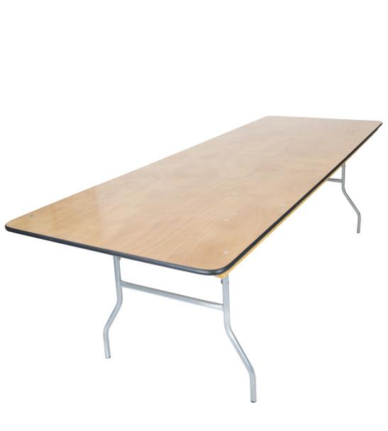 "Luan 30""x96"" (8 ft) Rectangle Wood Folding Table, Vinyl Edging, Bolt-Thru Top, Locking Steel Frame"
