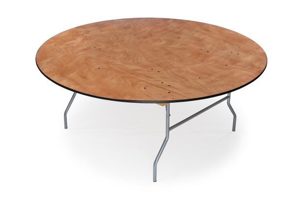 "Luan 60"" (5 ft) Round Wood Folding Table, Vinyl Edging, Bolt-Thru Top, Locking Steel Frame"