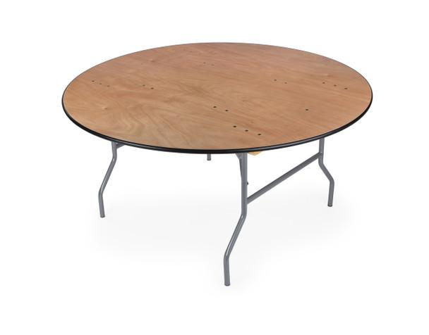 "Luan 72"" (6 ft) Round Wood Folding Table, Vinyl Edging, Bolt-Thru Top, Locking Steel Frame"