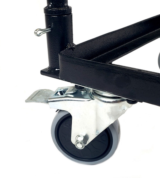 Locking swivel casters in the rear, fixed casters in the front. Also the handle is secured using cotter pins.