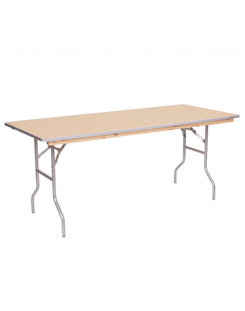 "European Birch 30""W x 72""L (6FT) Rectangular Wood Banquet Folding Table With Metal Edge"