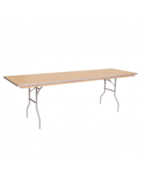 "European Birch 30""W x 96""L (8FT) Rectangular Wood Banquet Folding Table With Metal Edge"