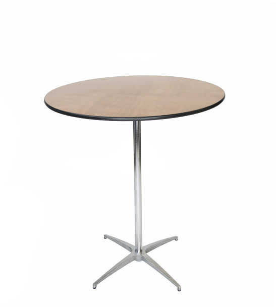 "Luan  36"" Round Wood Cocktail Table, Vinyl Edging, 30""H & 42""H Poles Included"