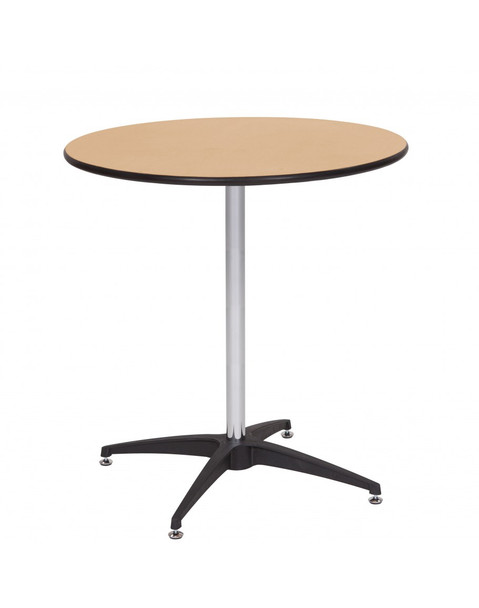 """European Birch 30"""" Round Wood High Top Cocktail Table with Self-Leveling Glides"""
