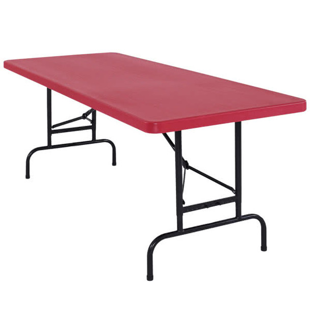 "Body Builder 30""W x 72""L (6 ft) Red Adjustable Height Plastic Folding Table By National Public Seating"