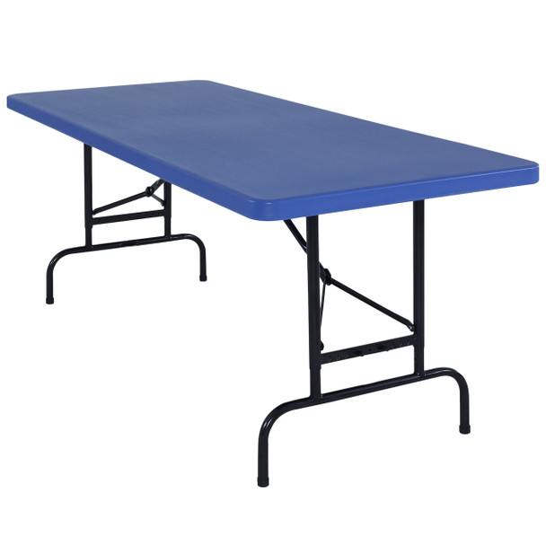 """Body Builder 30""""W x 72""""L (6 ft) Blue  Adjustable Height Plastic Folding Table By National Public Seating, Model BTA-3072-04"""