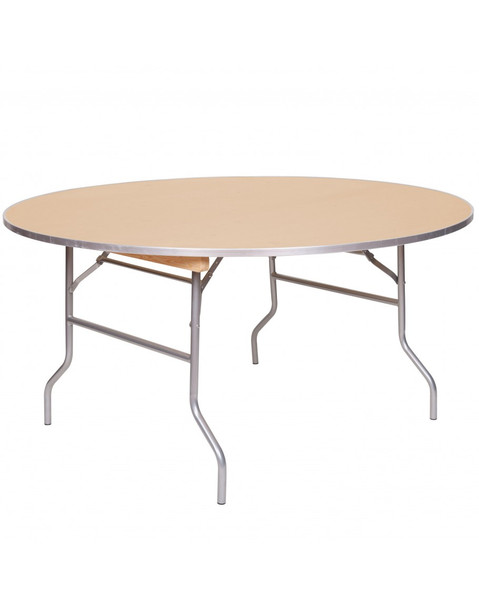 "European Birch 60"" (5FT) Round Wood Banquet Folding Table With Metal Edge and 3/4"" Russian Birch Wood"