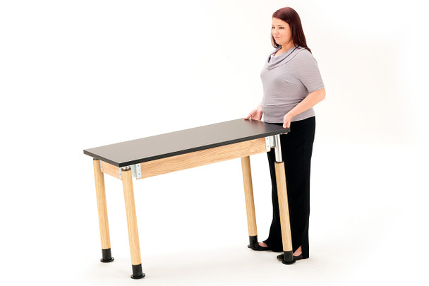 Chemical and Water Resistant Adjustable Height Science Lab Table By National Public Seating
