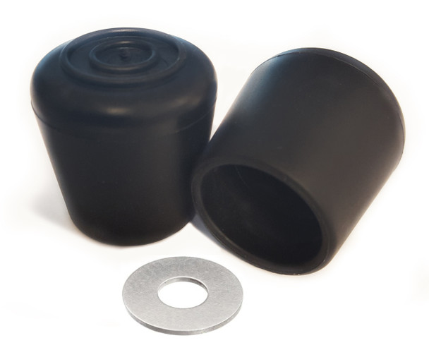 """100 pk. Non-Marring Rubber Folding Chair Foot Cap Glides with Steel Insert, Fits 7/8"""" OD Tube"""
