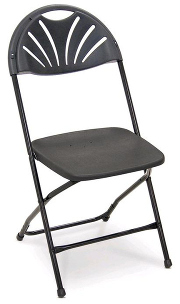 Series 5 Fan Back Plastic Folding Chair-Made in the USA-Black