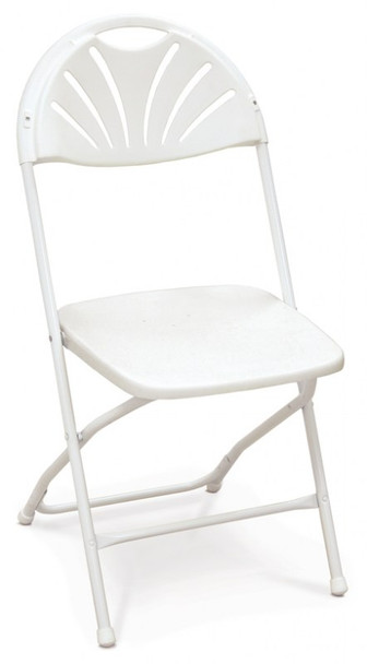 Series 5 Fan Back Plastic Folding Chair-Made in the USA-White
