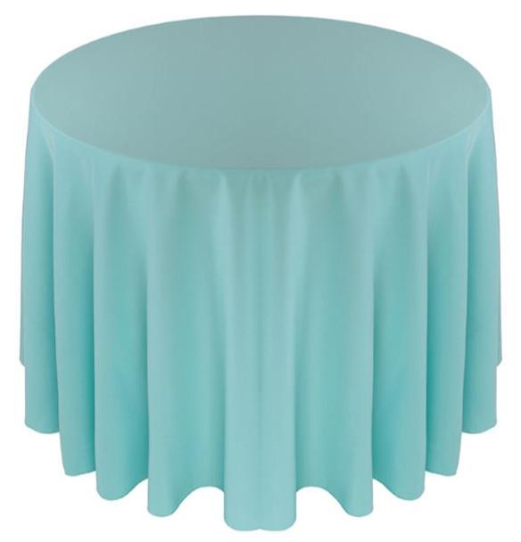 Solid Polyester Tablecloth Linen-Aqua