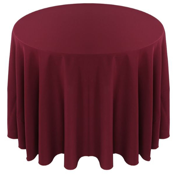 Solid Polyester Tablecloth Linen-Burgundy