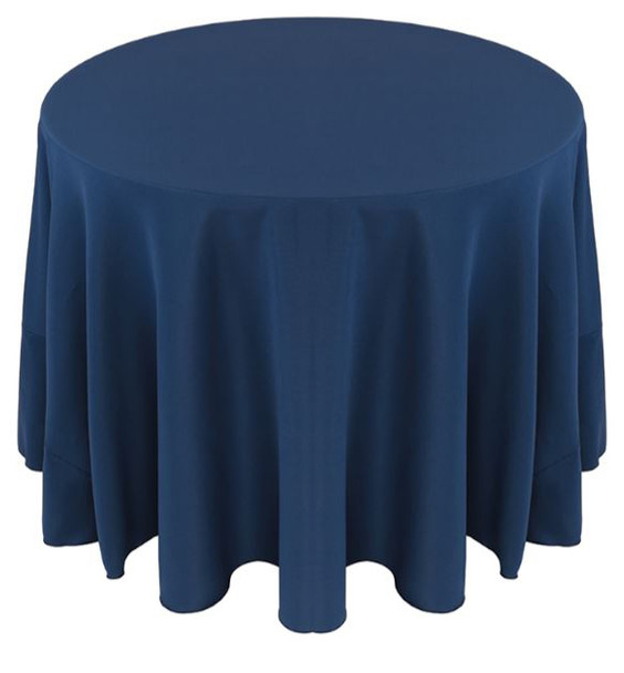 Solid Polyester Tablecloth Linen-Dark Blue