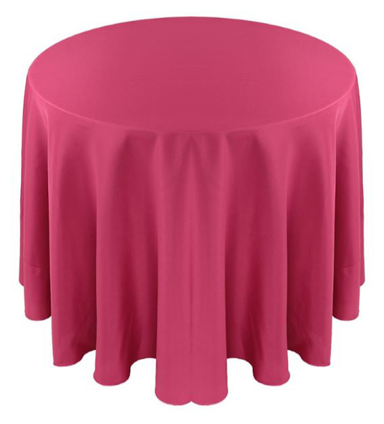 Solid Polyester Tablecloth Linen-Hot Pink
