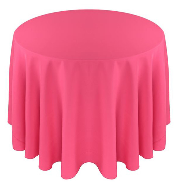 Solid Polyester Tablecloth Linen-Neon Pink